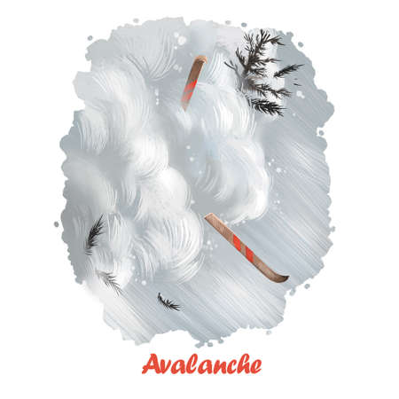 Avalanche digital art illustration of natural disaster. Skier suffer from dangerous fall in snow, freeride hiking concept. Climbing rocky mountain in cold winter weather, extreme risk falling