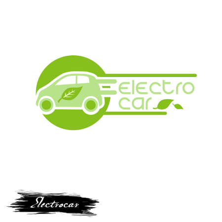 Electro car logo design with green eco friendly automobile with leaves digital art illustration isolated on white background. Electronic vehicle emblem, sticker of ecologically clean auto transport
