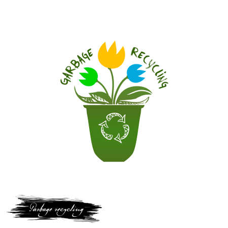 Garbage recycling digital art illustration with flowers growing in rubbish with recycle sign, save the Earth and environment concept. Recyclable basket with colorful ecocleen plants, reuse of materia Reklamní fotografie
