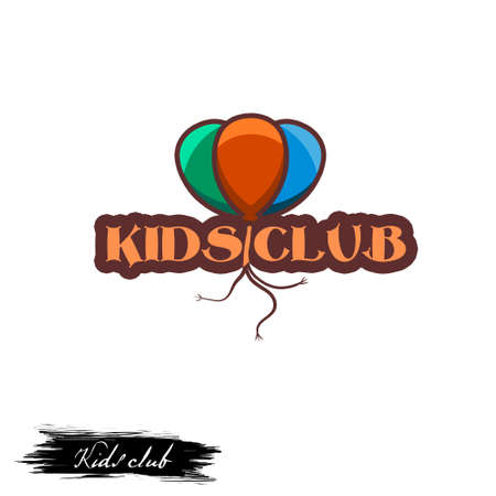 Kids club logo design with color air balloons and inscription, logotype for entertainment institution for children play, digital art illustration isolated on white background, infants room for games Stock Photo