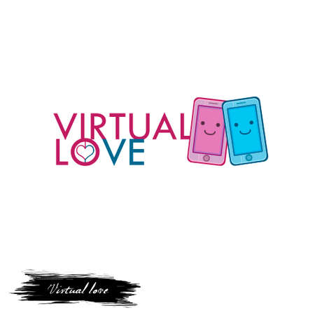 Virtual love logo design with pink and blue emoji smartphones digital art illustration isolated on white. Computer chatbot, online chatting, communication with help of modern devices via Internet