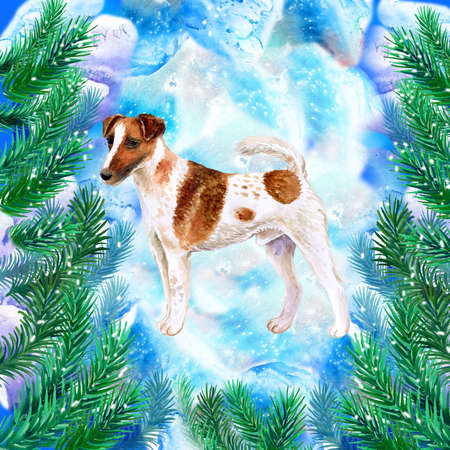 Fox terrier symbol of New Year and Christmas greeting card design with fir tree branches. Cute dog watercolor illustration isolated on snowy background, funny postcard. Smooth and Wire Fox Terrier Stock Photo