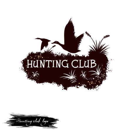 Hunting club   digital art illustration isolated on white. Flying birds in the reeds black silhouettes, crane trophies monochrome sticker, wildlife forest adventure, killing animals concept Stockfoto