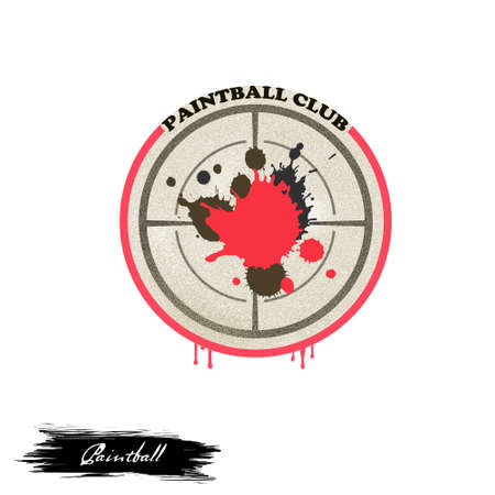 Paintball club logo digital art illustration isolated on white. Sport team game logotype with military shooting board with paint splashes, shooting battle with board and target fighting sticker