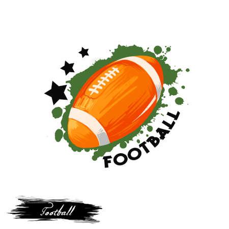 Illustrazione di arte digitale del club di calcio isolata su bianco. Progettazione di logotipi di football americano, insegne di rugby, calcio balilla, adesivo gioco sport di squadra, lega sportiva emblema con stelle sullo sfondo Archivio Fotografico - 91950594
