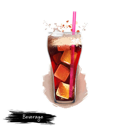 Soda cold drink with ice cubes in glass isolated on white background. Soft drink, street food, take-away, take-out. Fast food hand drawn digital illustration. Graphic clip art design for web, print