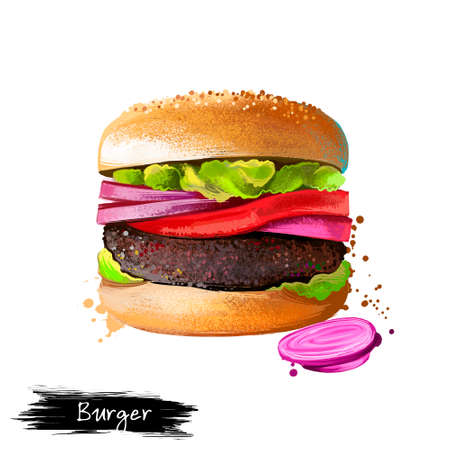 Hamburger, beef burger with vegetables and onions isolated on white background. Street food, take-away, take-out. Fast food hand drawn digital illustration. Graphic clip art design for web, print