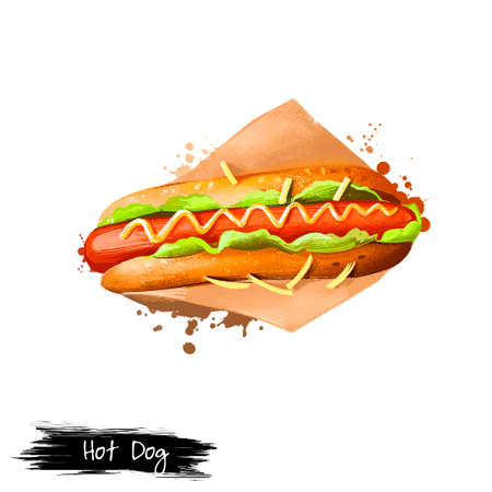 Hot Dog with sausage, mustard sause in paper wrapping isolated on white background. Street food, take-away, take-out. Fast food hand drawn digital illustration. Graphic clip art design for web, print