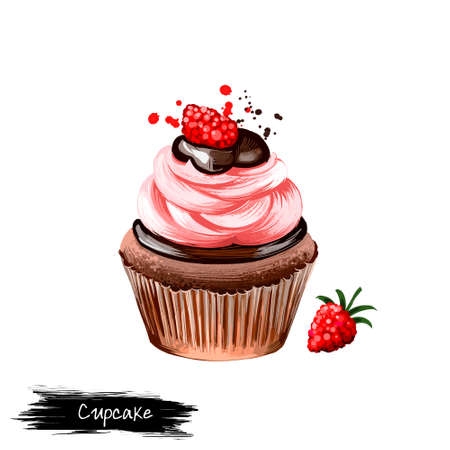 Cupcake with raspberry cream and chocolate, muffin isolated on white background. Street food, take-away, take-out. Fast food hand drawn digital illustration. Graphic clip art design for web, print