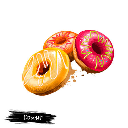 Tasty glazed donuts, doughnuts isolated on white background. Sweet dessert. Street food, take-away, take-out. Fast food hand drawn digital illustration. Graphic clip art design for web, print