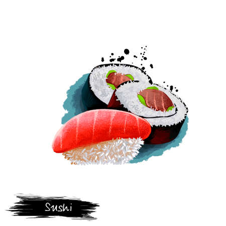 Japanese sushi rolls, nigiri with fresh salmon fish isolated on white background. Street food, take-away, take-out. Fast food hand drawn digital illustration. Graphic clip art design for web, print Stock Photo