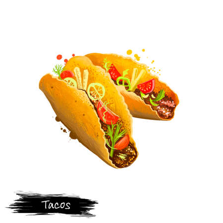 Mexican tacos, taco with beef, vegetables rolled in pita isolated on white background. Street food, take-away, take-out. Fast food hand drawn digital illustration. Graphic clipart design for web print Stock Photo