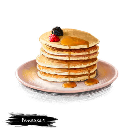 Pancakes with maple sirup and fresh berries isolated on white background. Flapjack Street food, take-away, take-out. Fast food hand drawn digital illustration. Graphic clip art design for web, print Stock Photo