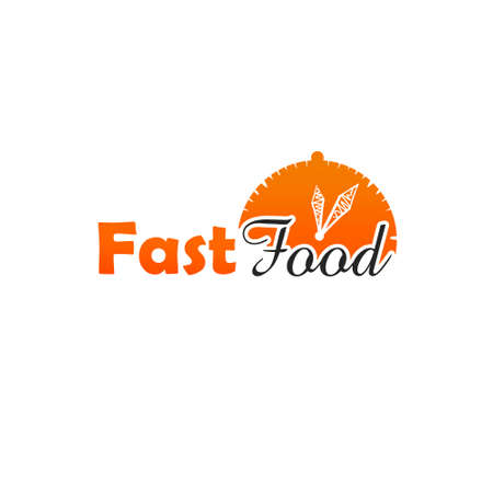 Fast food hand drawn logo icon sign isolated on white background. Street food, take-away, take-out. Fast food digital illustration. Graphic clip art design for web, print, design Stock Photo