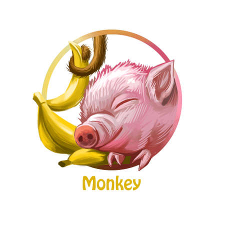 Monkey Chinese zodiac system and signs isolated  digital art. Poster of sleeping pig and bananas, exotic fruits, symbols of macaques,.  piglet and food, oriental astrology