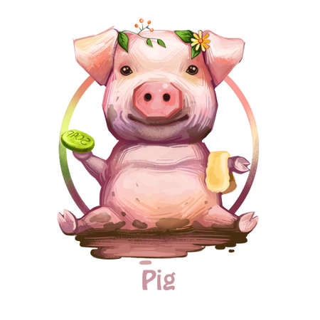 Pig with positive emotions holding soap and sponge digital art. Isolated icon of swine sitting in dirt, wearing plants and leaves foliage on head. Smiling pet domesticated animal, zodiac sign symbol