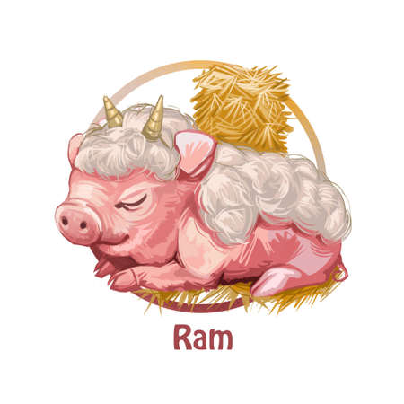 Ram swine resembling animal with horns and wool digital art. Piglet laying among hay bales sleeping and resting. Zodiac Chinese signs, horoscope and astrological symbols,  portrait Standard-Bild - 108035651