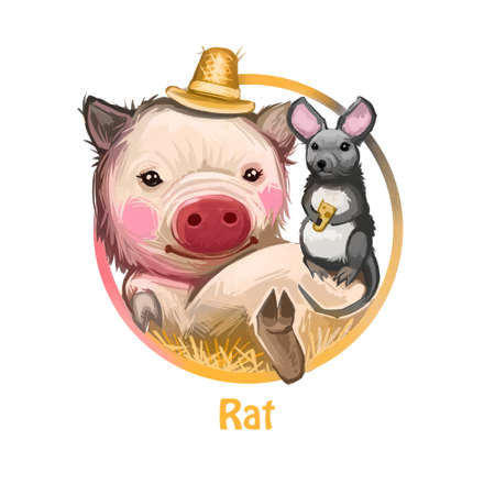 Rat Chinese horoscope and astrological zodiac sign digital art. Poster with text name of symbol, mouse holding cheese food, pig wearing hat and layig among hay.  representation of Asia Banque d'images - 108035652