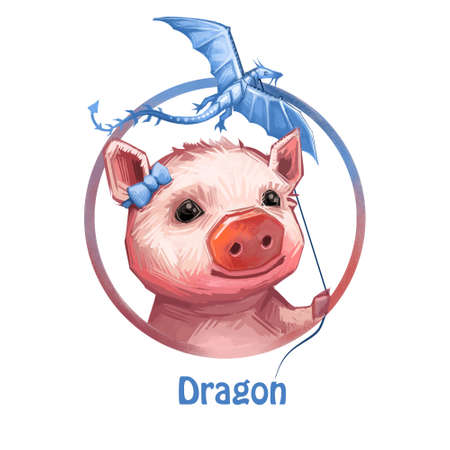 Dragon zodiac sign symbol isolated  portrait digital art. Pig holding flying mythological creature with wings. Female piglet wearing bow at head, swine playing with toy poster and text