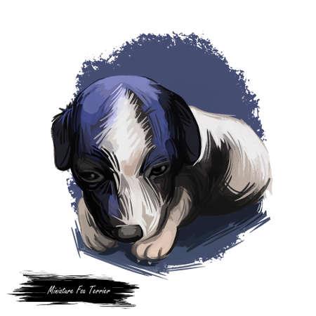Miniature fox terrier dog, mini foxie digital art
