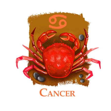 Creative digital illustration of astrological sign Cancer. Fourth of twelve signs in zodiac. Horoscope water element. Logo sign with crab. Graphic design clip art for web and print. Add any text.