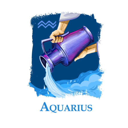 Creative digital illustration of astrological sign Aquarius. Eleventh of twelve signs in zodiac. Horoscope air element. Logo sign with water jug. Graphic design clip art for web, print. Add any text. Stock Photo
