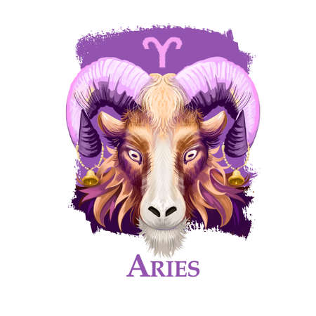 Creative digital illustration of astrological sign Aries. First of twelve signs in zodiac. Horoscope fire element. Logo sign with ram horns. Graphic design clip art for web and print. Add any text. Zdjęcie Seryjne