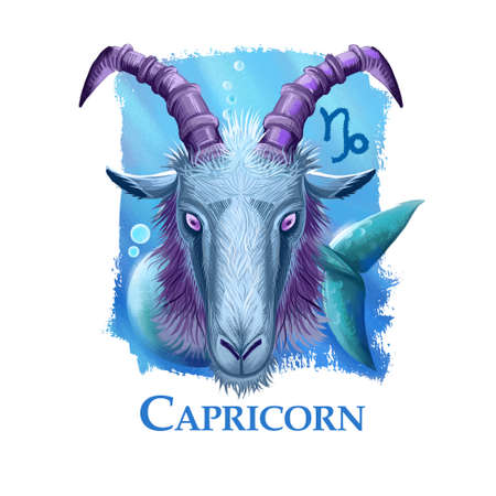 Creative digital illustration of astrological sign Capricorn. Tenth of twelve signs in zodiac. Horoscope earth element. Logo sign with sea-goat. Graphic design clip art for web and print