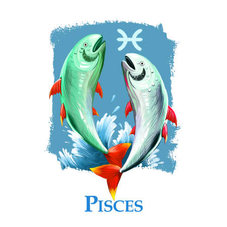 Creative digital illustration of astrological sign Pisces. Twelfth of twelve signs in zodiac. Horoscope water element. Logo sign with fish. Graphic design clip art for web and print. Add any text.
