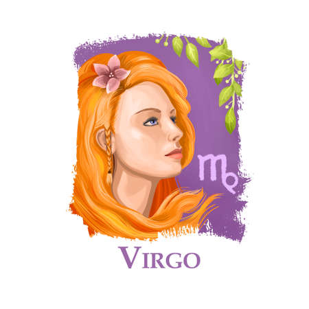 Creative digital illustration of astrological sign Virgo. Sixth of twelve signs in zodiac. Horoscope earth element. Logo sign with young girl. Graphic design clip art for web and print. Add any text.