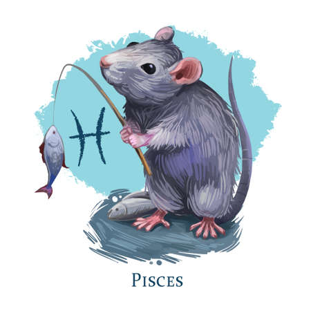 Pisces creative digital illustration of astrological sign. Rat or mouse symboll of 2020 year signs in zodiac. Horoscope water element. Logo sign with fish. Graphic design clip art for web and print. Zdjęcie Seryjne