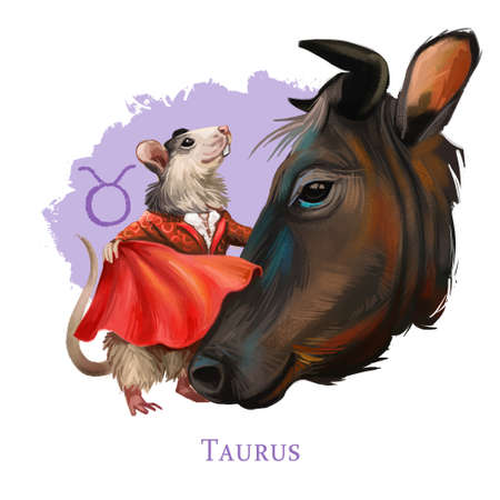 Taurus creative digital illustration of astrological sign. Rat or mouse symboll of 2020 year signs in zodiac. Horoscope earth element. Logo sign with bull horns. Graphic design clip art for web print