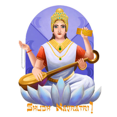 Shubh navratri digital art ilustration. Navaratri Hindu festival, celebrated in autumn. Shailaputri, Brahmacharini, Chandraghanta, Kushmanda, Skandmata, Katyayani, Kalaratri Mahagauri and Sidhidatri Stock Photo - 128902046