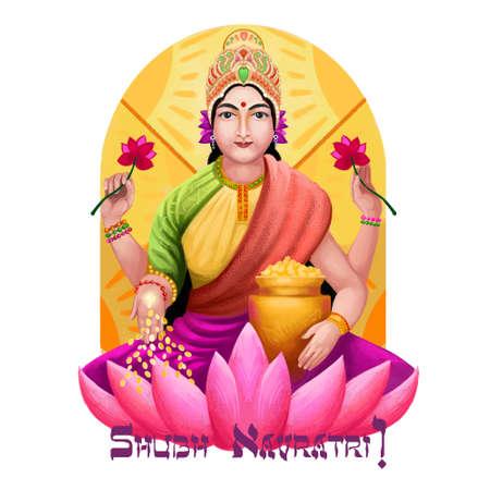 Shubh navratri digital art ilustration. Navaratri Hindu festival, celebrated in autumn. Shailaputri, Brahmacharini, Chandraghanta, Kushmanda, Skandmata, Katyayani, Kalaratri Mahagauri and Sidhidatri Stock Photo - 128902049