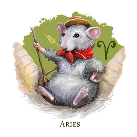 Aries creative digital illustration of astrological sign. Rat or mouse symboll of 2020 year signs in zodiac. Horoscope fire element. Logo sign with ram horns. Clip art for web and print. Add any text Zdjęcie Seryjne