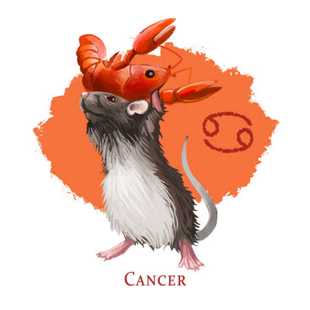 Cancer creative digital illustration of astrological sign. Rat or mouse symboll of 2020 year signs in zodiac. Horoscope water element. Logo sign with crab. Graphic design clip art for web and print