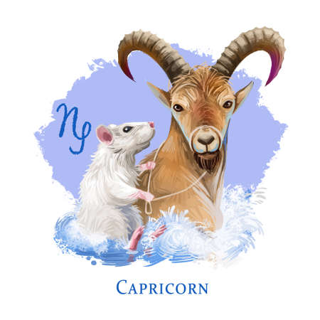 Capricorn creative digital illustration of astrological sign. Rat or mouse symboll of 2020 year signs in zodiac. Horoscope earth element. Logo with sea-goat. Graphic design clip art for web and print Zdjęcie Seryjne