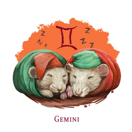 Gemini creative digital illustration of astrological sign. Rat or mouse symboll of 2020 year signs in zodiac. Horoscope air element. Logo sign with twins. Graphic design clip art for web and print Zdjęcie Seryjne