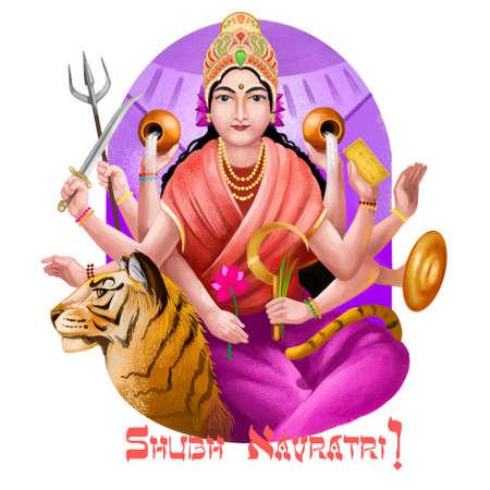 Shubh navratri digital art ilustration. Navaratri Hindu festival, celebrated in autumn. Shailaputri, Brahmacharini, Chandraghanta, Kushmanda, Skandmata, Katyayani, Kalaratri Mahagauri and Sidhidatri