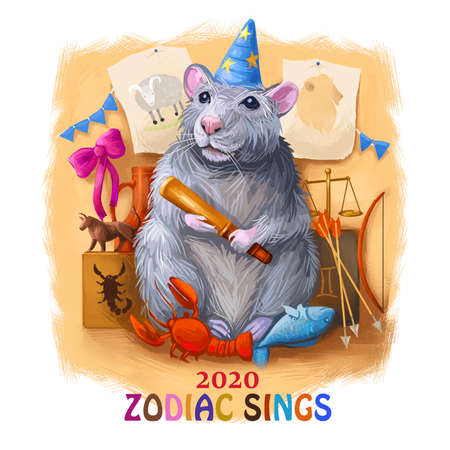 Horoscope art signs of zodiac 2020 year of meta rat. Fire Aries, Leo and Sagittarius. Earth Taurus, Virgo and Capricorn. Water Signs Cancer, Scorpio and Pisces. Air Signs Gemini, Libra and Aquarius Zdjęcie Seryjne
