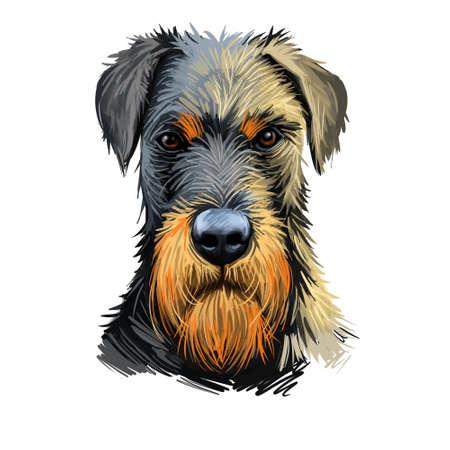 Jack Russell Terrier, Jack Russell, JRT, Jack dog digital art illustration isolated on white background. Enfland origin terrier dog. Pet hand drawn portrait. Graphic clip art design for web print