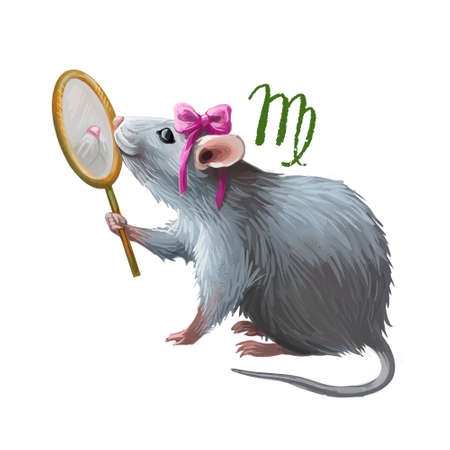 Virgo creative digital illustration of astrological sign. Rat or mouse symboll of 2020 year signs in zodiac. Horoscope earth element. Logo sign with young girl. Graphic design clip art for web print