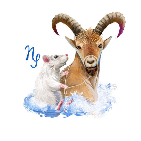 Capricorn creative digital illustration of astrological sign. Rat or mouse symboll of 2020 year signs in zodiac. Horoscope earth element. Logo with sea-goat. Graphic design clip art for web and print Stockfoto