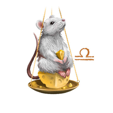 Libra creative digital illustration of astrological sign. Rat or mouse symboll of 2020 year signs in zodiac. Horoscope air element. Logo sign with scales. Graphic design clip art for web and print Banco de Imagens