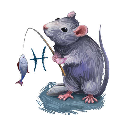 Pisces creative digital illustration of astrological sign. Rat or mouse symboll of 2020 year signs in zodiac. Horoscope water element. Logo sign with fish. Graphic design clip art for web and print. Banco de Imagens - 131779153