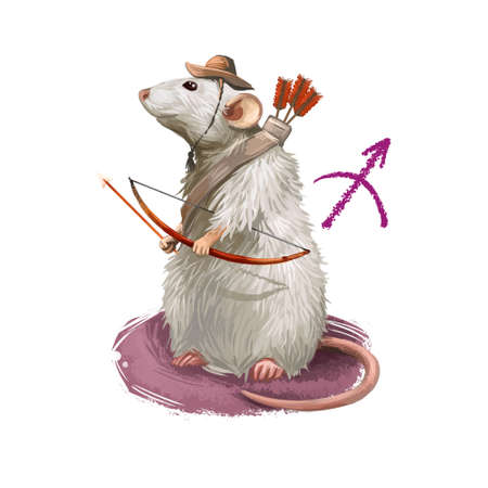 Sagittarius creative digital illustration of astrological sign. Rat or mouse symboll of 2020 year signs in zodiac. Horoscope fire element. Logo sign with Archer. Graphic design clip art for web, print Stockfoto