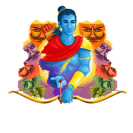 Vijayadashami Dasahara, Dusshera, Dasara, Dussehra Dashain major Hindu festival celebrated at end of Navratri. Maha Durga, Chandika Aparajita digital art illustration, t-shirt print, man with arrow Reklamní fotografie