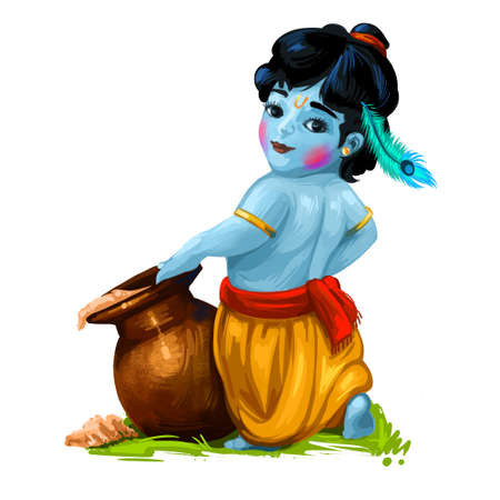 Krishna Janmashtami or Gokulashtami annual Hindu festival celebrates the birth of Krishna, eighth avatar of Vishnu. Hindu luni-solar calendar, Ashtami of Paksha in Shraavana, digital art illustration