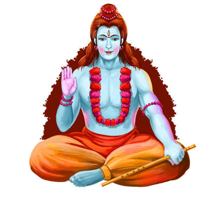 Gokulashtami god with pipe, Krishna Janmashtami annual Hindu festival. Indu luni-solar calendar, Ashtami of Paksha in Shraavana, digital art illustration. birth of Krishna, eighth avatar of Vishnu