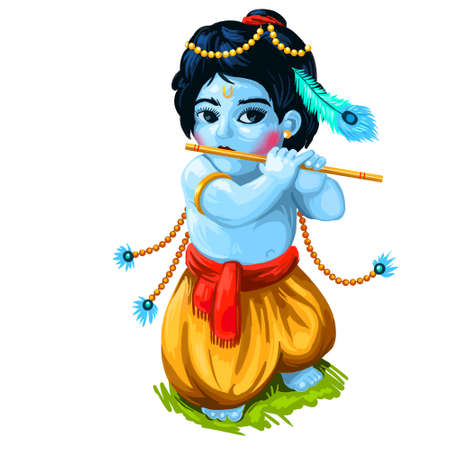 Ashtami of Paksha in Shraavana, digital art illustration. Krishna Janmashtami or Gokulashtami annual Hindu festival celebrates the birth of Krishna, eighth avatar of Vishnu. Hindu luni-solar calendar